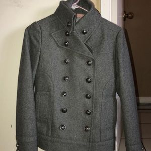 Gray Coat with Detailed Buttons